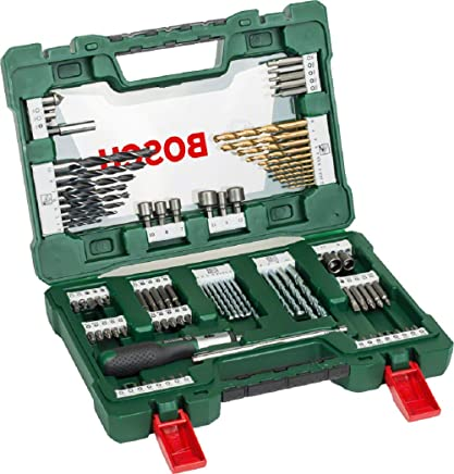 Bosch 2607017195 V-Line Titanium and Screwdriver Drill Bits with Ratchet Screwdriver (91 Piece Set)