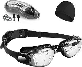 نظارة سباحة، [مقاومة للضباب/الاشعة فوق البنفسجية] نظارة سباحة لروية واسعة شفافة للبالغين من الرجال والنساء، نظارة سباحة مط...