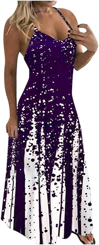 Tavorpt Summer Dresses for Women Maxi Sleeveless Sexy Daisy Patchwork Casual Sundress Beach Party Split Cami Long Dress