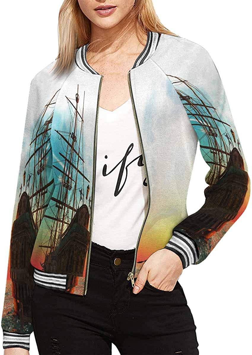 InterestPrint Women's Pattern with Blue and White Zig-Zag Lines Jacket Long Sleeve Zipper