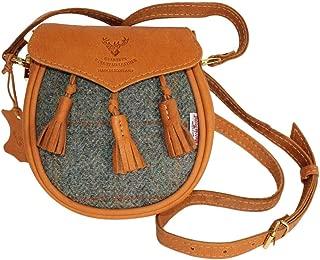 Designer Tan Leather & Stunning Custom Designed Traditional Green Check Harris Tweed Sporran Handbag