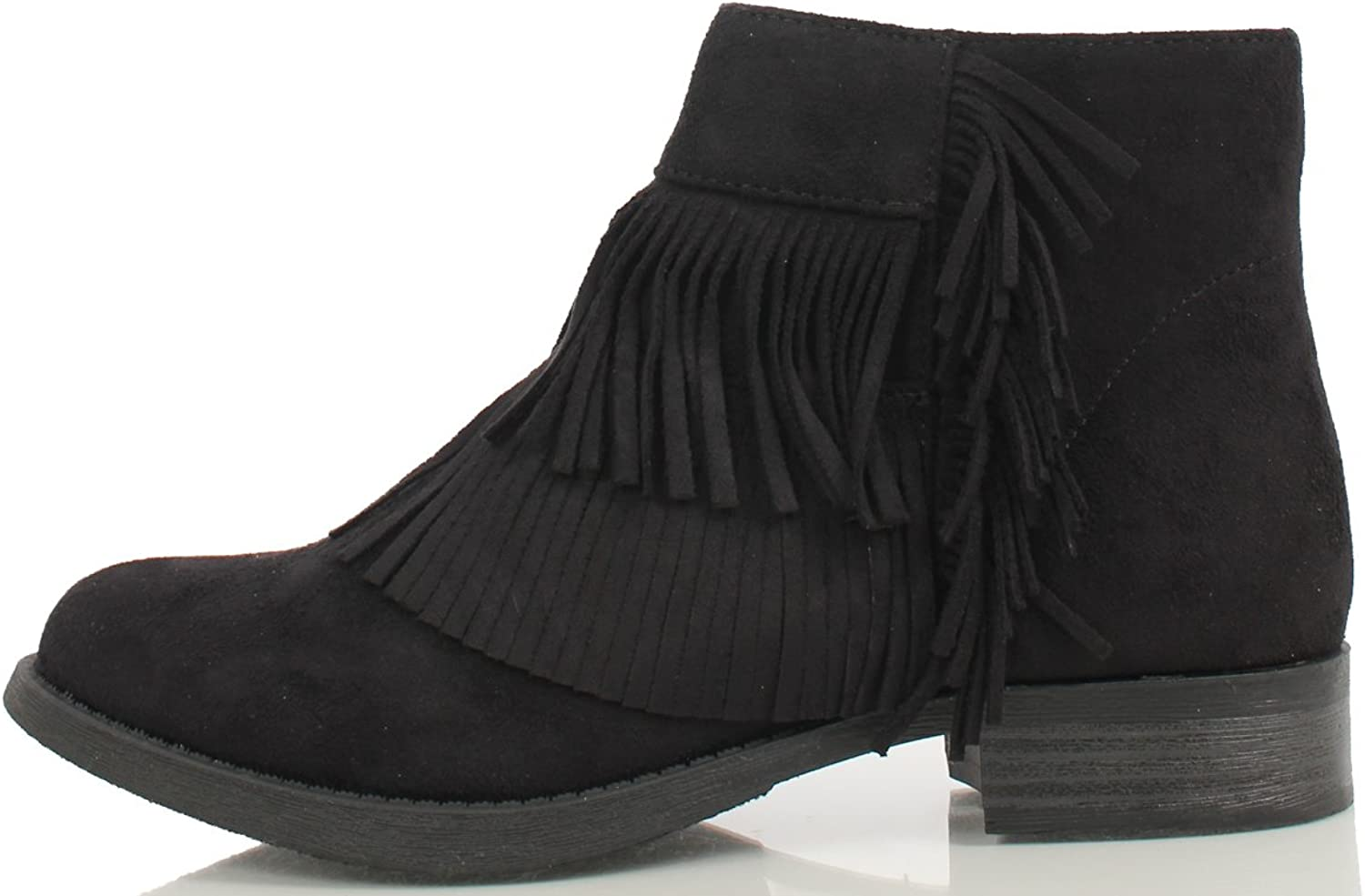 Soda Women's Flame Faux Suede Double Fringe Moccasin Ankle Boots
