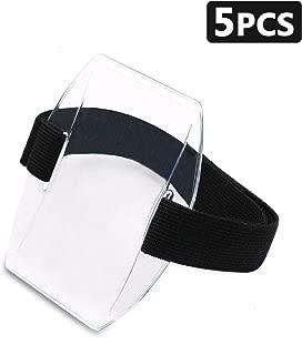 Timoo 5 PCS Arm Badge Holder Armband ID Card Holder with Adjustable Belt, Universal Size