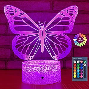 crib bedding and baby bedding butterfly night light, birthday gift for girls 3d illusion lamp kids bedside lamp with 16 colors changing remote control butterfly toys girls gifts