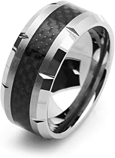 10MM Comfort Fit Tungsten Carbide Wedding Band Black Carbon Fiber Inlay Grooved Tungsten Ring (5 to 15)