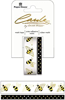 Paper House Productions Carole Shiber Bee-utiful Set of 2 Foil Accent Washi Tape Rolls for Scrapbooking and Crafts