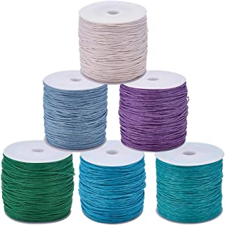JEWELEADER 6 Rolls About 485 Yards Round Waxed Cotton Cord 1mm Macrame Craft DIY Thread Rattail Beading String for Jewelry Making Chinese Knotting Kumihimo Shamballa Friendship Bracelets - Light Color