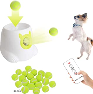 Dporticus Automatic Interactive Dog Tennis Ball Launcher Throwing Machine for Training and Playing