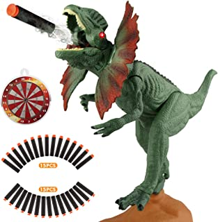 EpochAir Dinosaur Toys Electronic Shooter Gun Dilophosaurus Realistic Model Assorted Dinosaur Figures with Roaring Sound and Lights