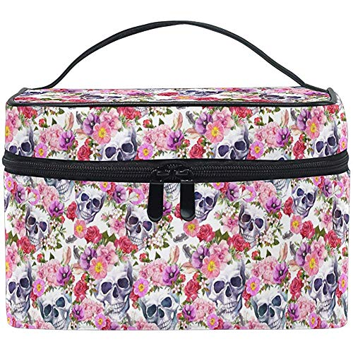 Vintage Rose Skull Floral Makeup Bag Vintage Flower Toiletry Brush Train Case Carrying Portable Storage Pouch Bags
