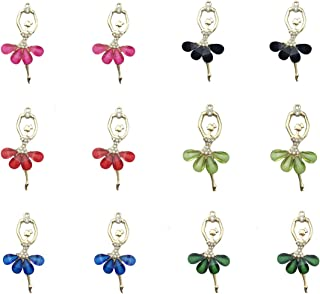 12 Pcs Assorted Enamel Charm Pendant Gold Plated Ballet Crystal Rhinestone Pendant Dainty Dangle Crafting Accessories for Necklace Bracelet Ankle Jewelry DIY Making