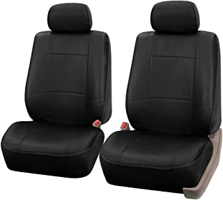FH Group FH-PU001102 Classic Synthetic Leather Pair Set Car Seat Covers, Solid Black- Fit Most Car, Truck, SUV, or Van
