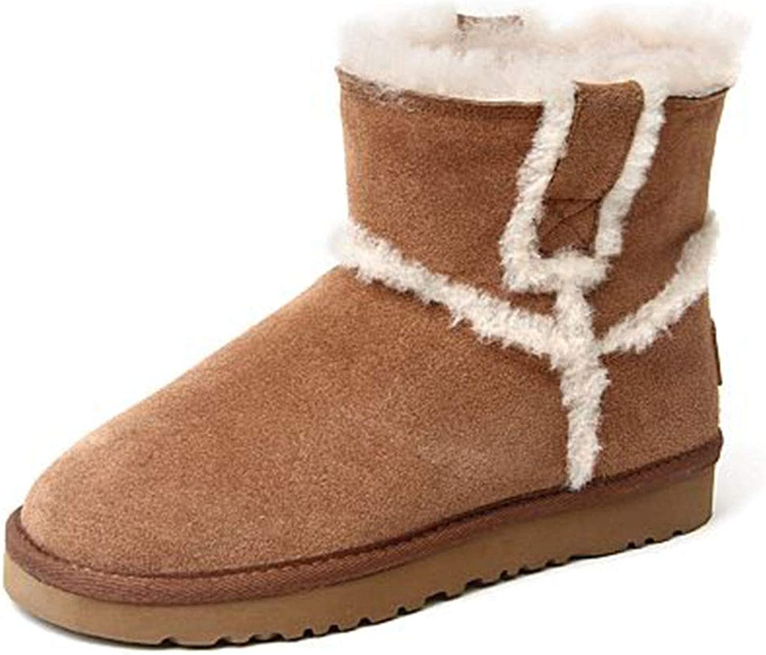 Warm Snow Boots Women's shoes Warm Short Velvet Sneakers Booties Flat Snow Boots Casual Boots Casual Walking shoes shoes & Handbags (color   Brown, Size   36)