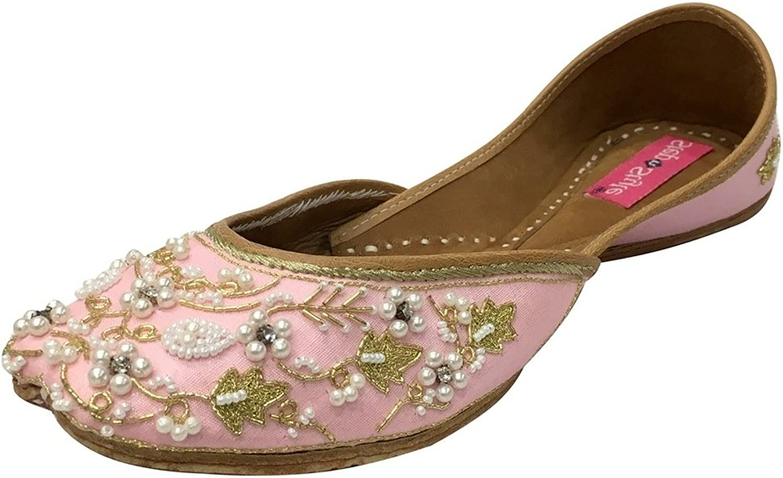Step n Style Traditional Handmade Women shoes Leather Flip-Flops Mojari Juti Khussa Baby Pink