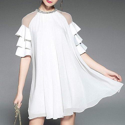 Robe pour Femme Haut De Gamme en Vrac Grande Taille Robe à Volants en Maille Perlée à Volants