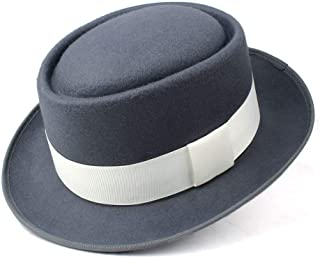 2019 Mens Womens Hats Men Women Unisex Flat Top Hat Fedora Hat for Gentleman Pork Pie Hat with White Ribbon Panama Hat for Elegant Lady Jazz Hat Casual Wild Hat (Color : Gray, Size : 58)