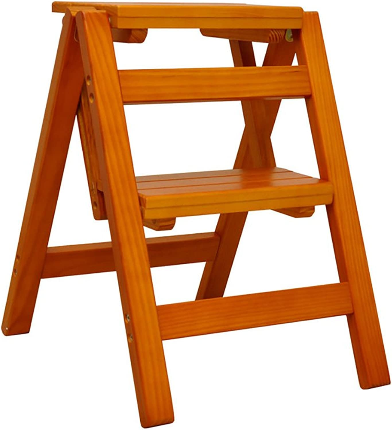 AIDELAI Bar Stool Chair- Multifunctional Solid Wood Bench Step Folding Two Step Ladder Small Wooden Ladder Portable Ladder Rack (color   A)