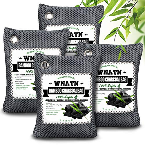 Bamboo Charcoal Air Purifying Bags,Upgraded 4pack(4×200g),Activated Charcoal Odor Absorber,Natural Air Freshener Deodorizer,Odor Eliminators for Home, Pets, Car, Closet