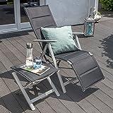 Vanage gepolsterter Gartenstuhl mit Fußableger in schwarz – Klappstuhl für Garten, Terrasse und Balkon geeignet - 10