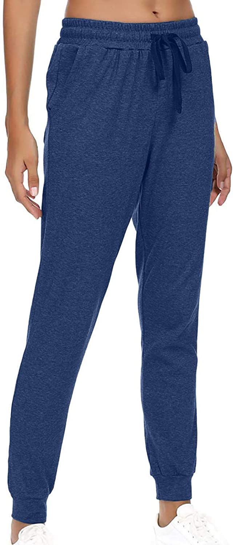 Jumaocio Women Sports Pants Solid Color Straight Elastic Waist Trousers