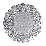 Doilykorea - 250 pcs Premium 4 inch Foil Round Lace paper doilies - Non-Dust, Clean Cut, Simple design : Party/Gift/Pad for Cake Crafts/Home Decoration Weddings Table settings Placemats [4', Silver]