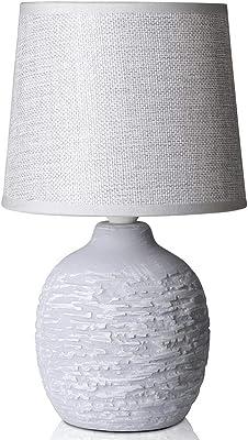 BAKAJI Lampe de table à base ronde en céramique, abat-jour en tissu, blanc, lumière de chevet, ampoule E14, max. 40 W, design moderne, dimensions 26 x 15 cm