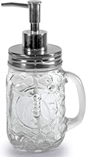 Circleware 06895 Honey Bee Mason Jar Dispenser Pump Glass Bottle with Lid Home Decor and Bathroom Accessories for Essential Oils, Lotions, Liquid Soaps 17.5 oz Clear