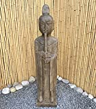 Asien Lifestyle Buddhistischer Zen Mönch (120cm) Garten Skulptur Flöte China Stein Statue