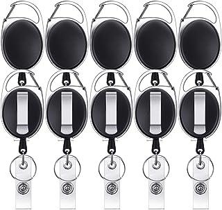ID Badge Holder Retractable, Shynek 10 Pcs Retractable Keychain Retractable Badge Holder Reel Clip Retractable Lanyard Key...