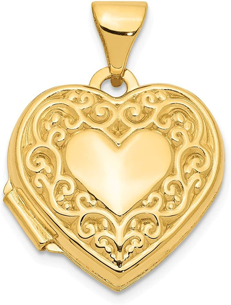 14k Yellow Gold Scroll Heart Photo Pendant Charm Locket Chain Necklace That Holds Pictures Fine Jewelry For Women Gifts For Her