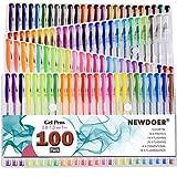 Newdoer Lot de 100stylos à encre gel couleurs grande capacitéPour livres de coloriage pour adulte, dessin et écriture Cadeau idéal pour Noël