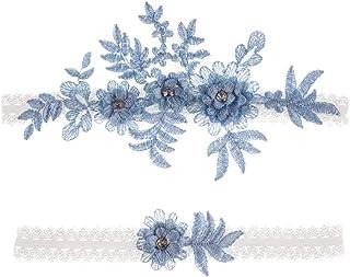 Amosfun 2 giarrettiere da matrimonio con fiori in pizzo e strass elastici per damigella d'onore matrimonio decorazione blu