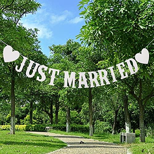 YingKu Just Married Banner, Hochzeit Banner Brief-Pull-Flagge,Hochzeit Engagement Auto Party Dekoration, Hochzeits Fotografie-Fotokabine Photo