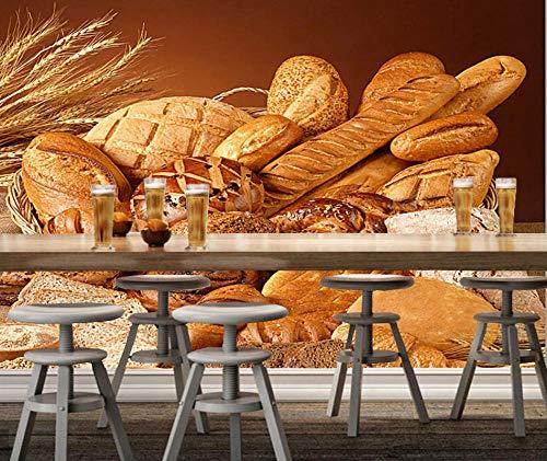 Muursticker bakkerij wandmateriaal tarwe en brood 3D moderne wandfoto restaurant café achtergrond muur huis decoratie 430 cm x 300 cm.