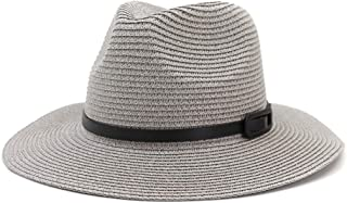 Hats New Summer Hollow Straw Sun Hat Lady Sunscreen Belt Decorative Leather Fashion Sun Hat Straw Hat Fashion (Color : Gray, Size : 56-58CM)