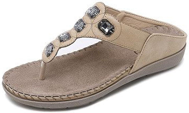 GIY Women's Bohemian Flat Flip Flops Sandals with Rhinestone Comfort Platform Summer Beach Thong