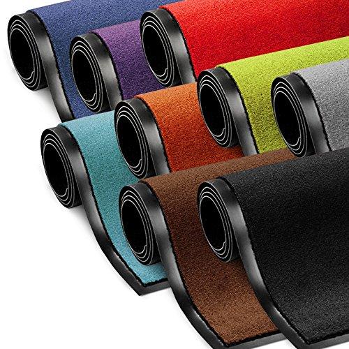 etm Schmutzfangmatte ColorLine | Türmatte in vielen Größen | Fußmatte für Innenbereich | Rutschfester Teppich für Flur, Haustür, Eingang, Eingangsbereich, Vorzimmer - Schwarz 60x180 cm