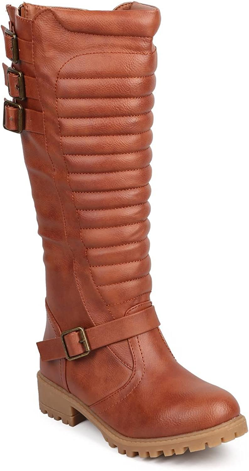 Liliana Women Leatherette Ribbed Knee High Belted Motorcycle Boot DC15 - Cognac