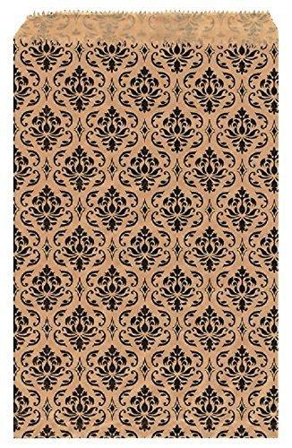 Damast Geschenk Papier-Staubsaugerbeutel Shopping Sales Tote Taschen 15,2x 22,9cm braun mit schwarz Damast Design 5