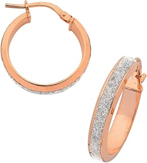 Bevilles 9ct Rose Gold Silver Infused Stardust Hoop Earrings 15mm