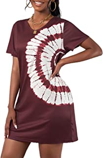 Ailunsnika Women Casual Dress Summer Tie Dye T Shirt Dresses V Neck Shift Mini Dress