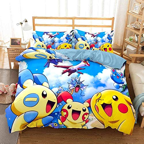 GD-SJK - Juego de ropa de cama para niños, pikachu, Pokémon, Niños, Niñas, funda de cama, funda de almohada, juego de 3, ropa de cama, juego de microfibra con cremallera,4, 135 x 200 cm