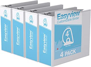 Easyview Premium, Angle D Ring, Customizable, View Binder, 4 Pack (4