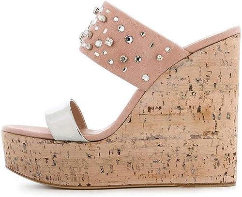 XLY Sandales à Talons compensés pour Femmes, Strass en Daim Daim à Double Bride, Plateforme Sandales Chaussures Pantoufles,46  en ligne