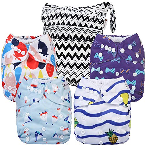 Cloth Diapers 4 Pack Adjustable Size Waterproof Washable Pocket Baby Cloth Diaper Cover and Inserts with Wet Bag by Anmababy(Azul)