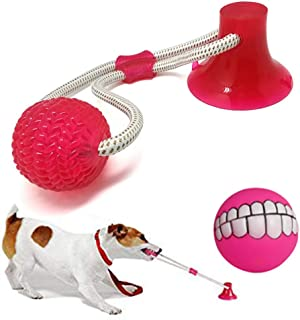 Zinuo Pet Molar Bite Toy with Suction Cup Multifunction Self-Playing Rubber Ball Dog Rope Chew Toy Playing Chewing Cleaning Teeth