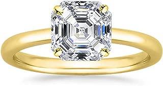 1.2 Carat 18K White Gold Asscher Cut Solitaire Diamond Engagement Ring E-F Color VS2 Clarity