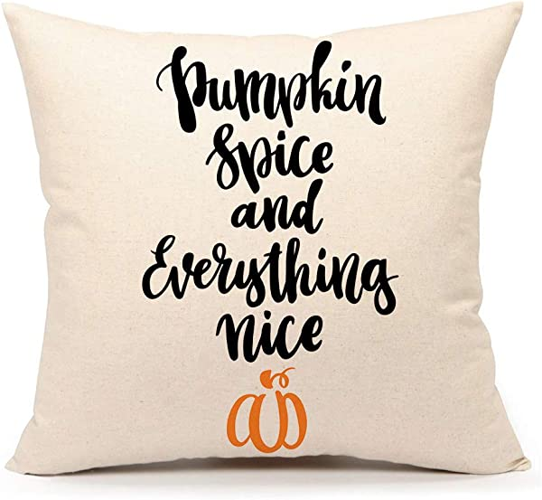 4TH Emotion Pumpkin Spice Halloween Throw Pillow Cover Fall Cushion Case 18 X 18 Cotton Linen Autumn Thanksgiving Home Decoration