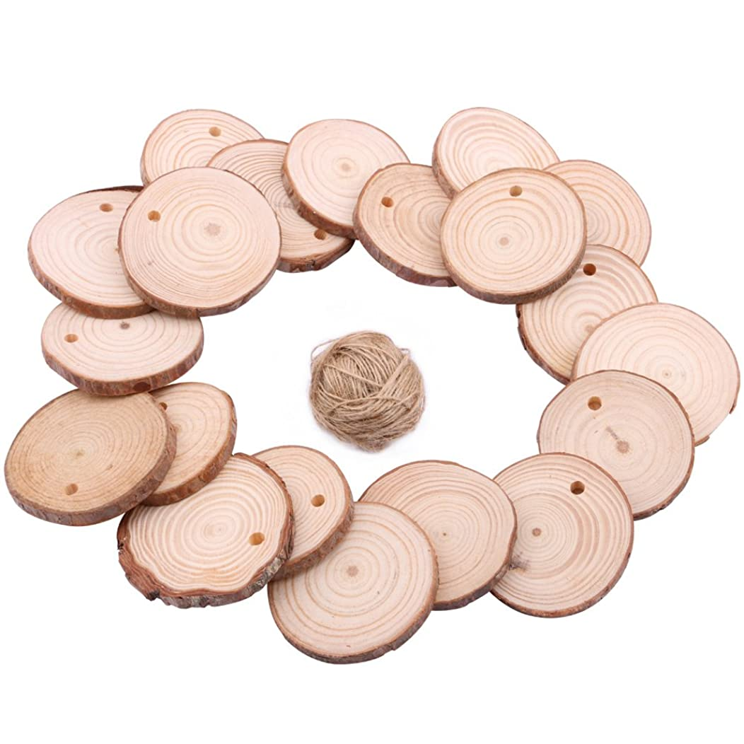 Wood Slice Ornaments, Dedoot 2-3 Inch Unfinished Natural Wood Slices Round Wood Slice Ornaments Predrilled with Hole for Centerpieces Arts and Crafts Home Ornaments DIY - Pack of 20