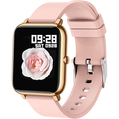 Popglory Smart Watch, Fitness Tracker with Blood Oxygen, Blood Pressure, Heart Rate Monitor, IP67 Waterproof Smartwatch Fitness Watch Smart Watch for Men Women for Android iOS (Gold + Pink)
